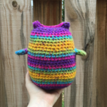 A colorful crochet toy for a deserving pup