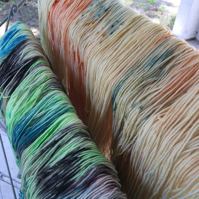 Two new colorways dyed up on Livy