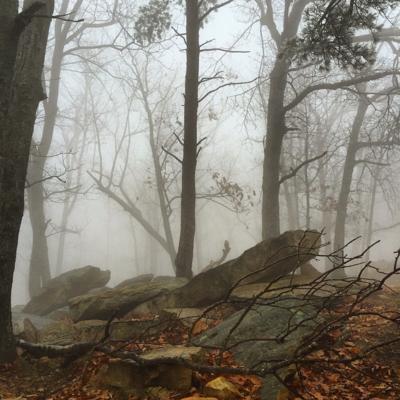 Foggy rock formations