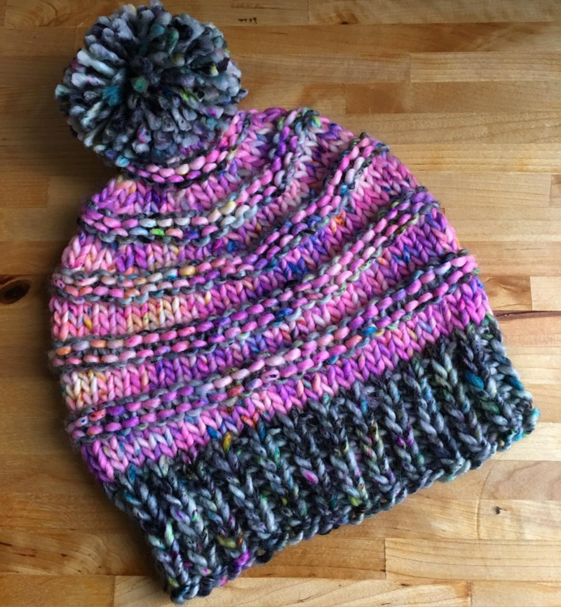 The Vermonter hat knit out of The Lemonade Shop super bulky yarn